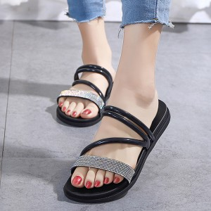Rhinestones Decorated Strapped Style Women Slippers - Black