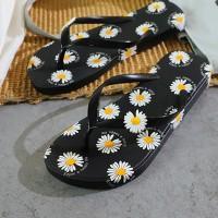 Floral Print Soft Sole Flip Flop Women Slippers - Black