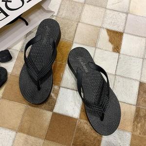 Flip Flop Thick Sole Summer Wear Women Slippers - Black