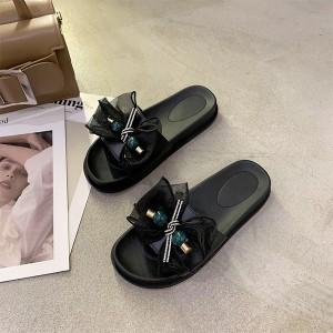 Thick Bottom Bow Fashion Women Slippers - Black