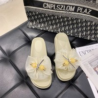Thick Bottom Bow Fashion Women Slippers - Yellow