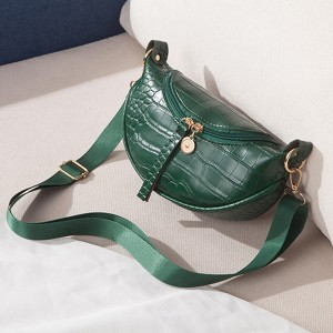 Adjustable Strap Textured Trendy Fashion Women Bags - Green