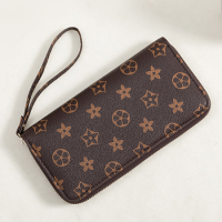 Geometric Printed Shaped Zipper Trendy Women Wristlet Wallet - Coffee