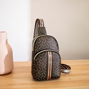 Canvas Shoulder Trendy Striped Style Women Bag - Brown