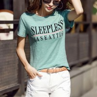 Alphabetic Printed Summer Wear Women T-Shirt - Green