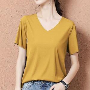 V Neck Short Sleeves Summer Wear Women Blouse Top - Yellow