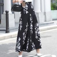 Floral Printed A-Line Women Fashion Skirt - Black
