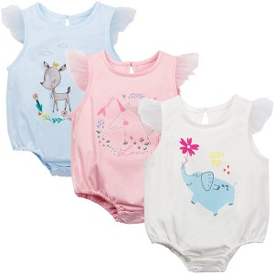 Angel Sleeved Printed Infant Baby Rompers - Multicolors