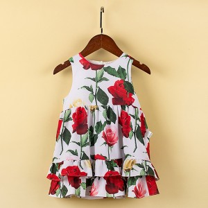 Sleeveless Rose Prints Cute Princess Girl Dress - White