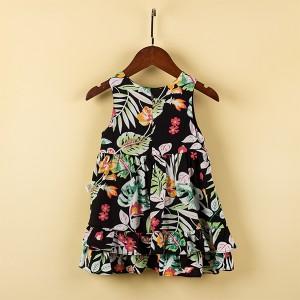 Sleeveless Floral Prints Cute Princess Girl Dress - Black