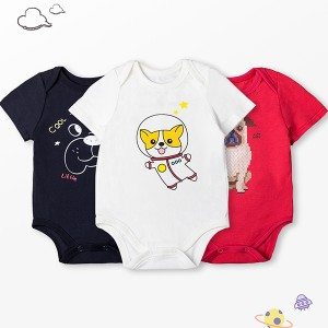 Round Neck Infact Cute Baby Cartoon Prints Three Pieces Rompers Set