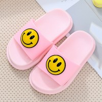 Solid Color Cartoon Style Open Toe Slippers For Kids - Pink
