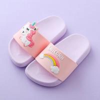 Rainbow Design Flat Sole Slipper For Kids - Pink
