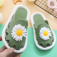 Flower Hollow Fashion Open Toe Slippers For Girls - Green