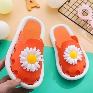 Flower Hollow Fashion Open Toe Slippers For Girls - Orange