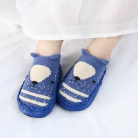 Printed Geometric Rubber Sole Infant Cute Shoes - Blue