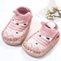 Printed Geometric Rubber Sole Infant Cute Shoes - Apricot