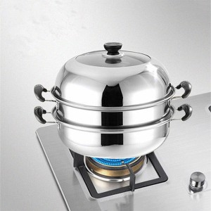 Stainless Steel High Quality Double Layer Steamer - Silver
