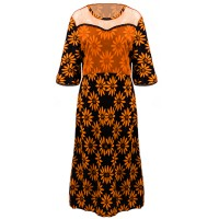 Lace Patched Women Fashion Floral Prints Dress - Orange