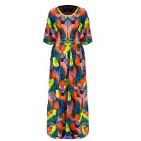 Colorful Prints Loose Beach Wear Women Fashion Dress - Multicolor