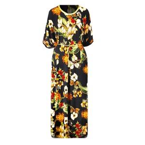 Flower Prints Loose Beach Wear Women Fashion Dress - Black
