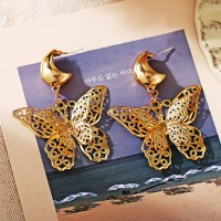 Double Butterfly Hollow Layered Design Women Earrings - Golden