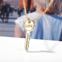 Gold Plated Love Key Design Women Necklace - Golden