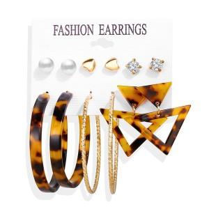 Geometric 6 Pieces Earring Set For Women - Multi Color