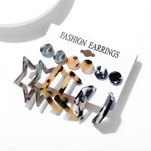 Alloy Geometric Shaped Fashion Women Earrings Set - Multi Color