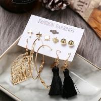 Leaf Hollow Tassel Style Earrings Set For Women - Golden