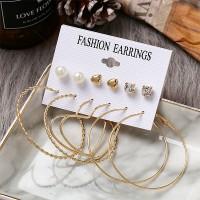 Braid Heart Style Six Pair Set Earrings For Women - Golden