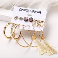 Rhinestones Tassel Style Earring Set For Women - Golden