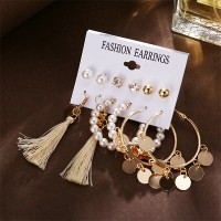 Gold Plated Beads Style 6 Pair Earrings Set - Golden