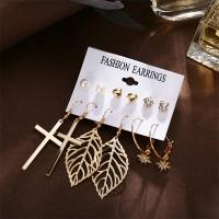 Star Leaf Dangle Style Earrings Set For Women - Golden