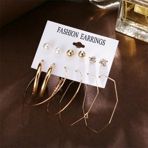Geometric Beads Earrings Set For Women - Golden