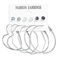 Trendy Heart Design Fashion 6 Pair Earrings Set For Women - Silver