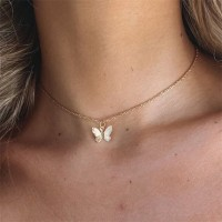 Butterfly Gold Plated Choker Necklace - Golden