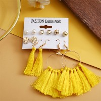 Tassel with Dangle Style Six Pairs Earring Set For Women - Golden