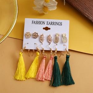 Floral Design Color Tassel 6 Pair Earrings Set - Multi Color