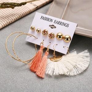 Spherical Stud Tops With Tassel Earrings Set - Multi Color