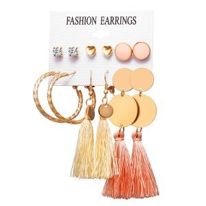 Crystal Stud Tops With Dangle Tassel Earrings Set - Multi Color