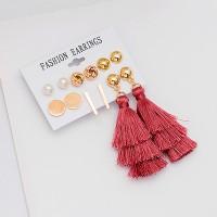 Spherical Stud Tops With Dangle Tassel 6 Pairs Earrings Set - Multi Color