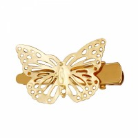 Trendy Hollow Design Gold Plated Butterfly Hair Clips - Golden