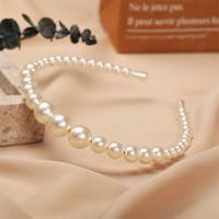 Pearl Decorated Bridal Style Women Headband - White