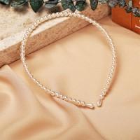 Pearl Fashion Elastic Headband For Women - White