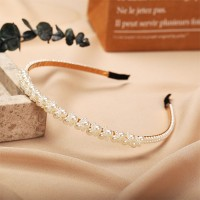 Decorated Pearl Double Layered Style Headband For Women - White