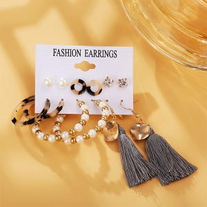 Beads Fashion Style Set Of Six Pairs Women Earrings - Multi Color