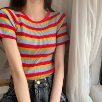 Striped Prints Summer Fashion Women Clothing Top - Red