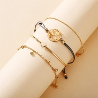 Multi Layered Gold Plated Bangle With Chains Bracelets Set - Golden