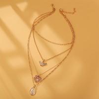 Crystal Heart Design Multi Layered Women Necklace - Golden
